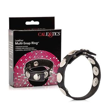 CalExotics Leather Multi-Snap Ring kožený krúžok na penis