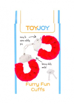 ToyJoy Furry Fun Cuffs plyšové erotické putá red